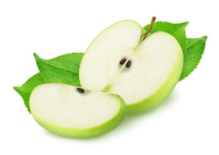 Composition with cutted green apples isolated on a white background.