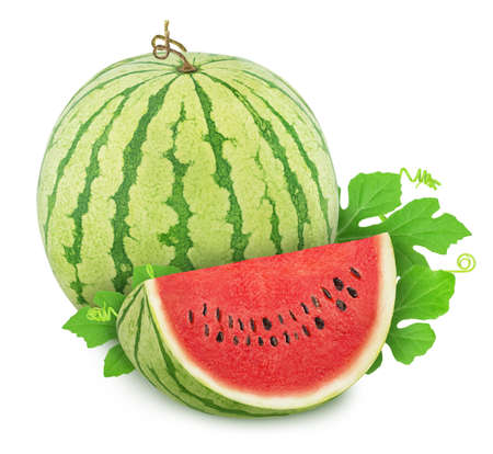 Whole ripe watermelon with quarter isolated on white background. Full depth of field. Stock Photo - 128831210