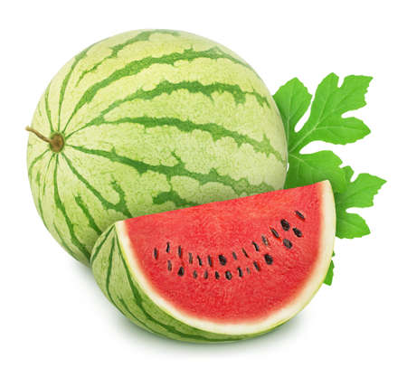 Composition with whole ripe watermelon and slice isolated on white background. As design elements.