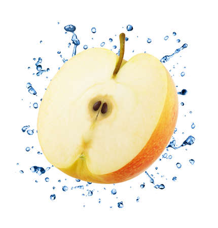 Half of Red Apple in Water Splashes Isolated on White Background