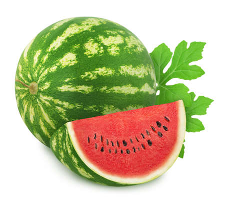 Composition with whole ripe watermelon and slice isolated on white background. 版權商用圖片