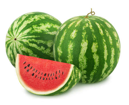 Composition with whole ripe watermelons and slice isolated on white background. Stock Photo