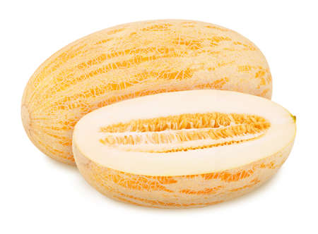 Whole ripe melon with half isolated on white background. Full depth of field.