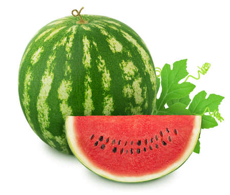 Composition with whole ripe watermelon and slice isolated on white background. Stock Photo - 128831466