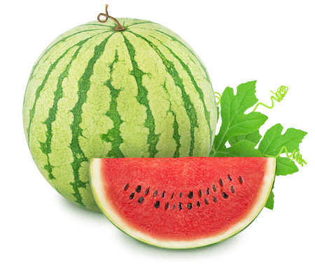 Composition with whole ripe watermelon and slice isolated on white background. Stock Photo