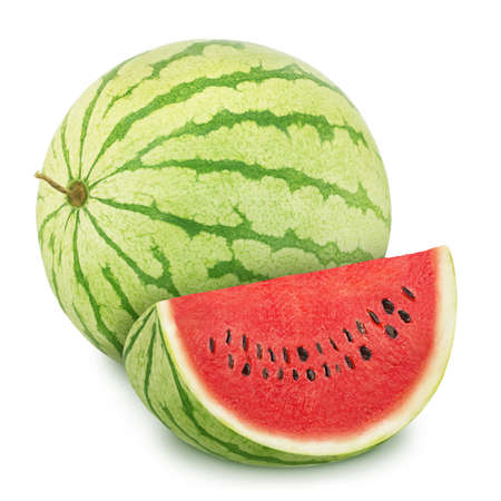 Composition with whole ripe watermelon and slice isolated on white background. Stock Photo - 128831472