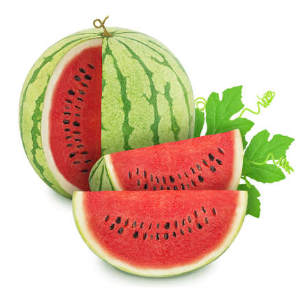 Composition with cutted ripe watermelons and leaves isolated on white background.