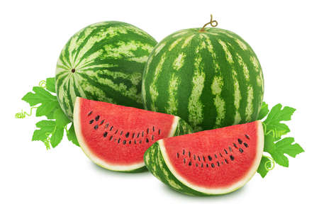 Composition with ripe watermelons and leaves isolated on white background.