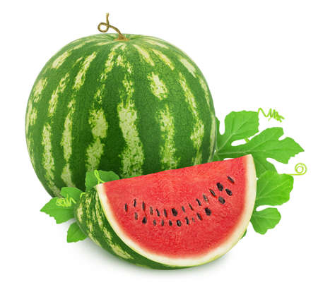 Whole ripe watermelon with quarter isolated on white background. Stock Photo - 128831586