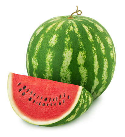 Whole ripe watermelon with quarter isolated on white background. Stock Photo