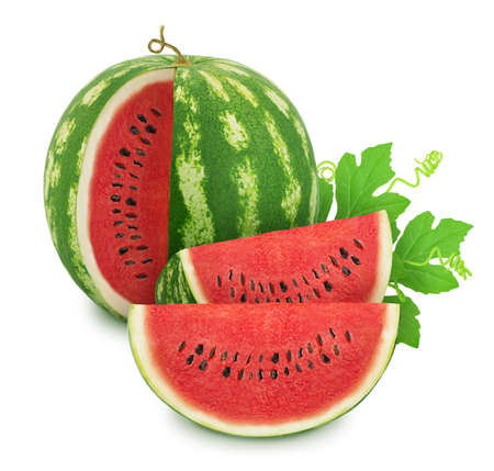 Composition with cutted ripe watermelons and leaves isolated on white background. As design elements. Stock Photo