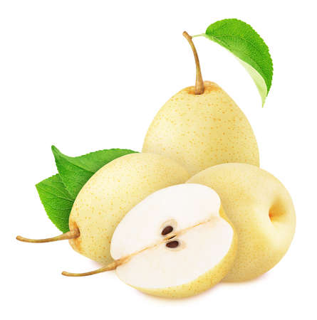 Composition with whole and cutted nashi pears isolated on a white background Stock fotó