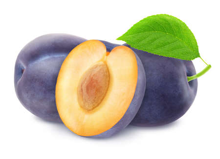 Composition with Blue Plums Isolated on White Background in Full Depth of Field