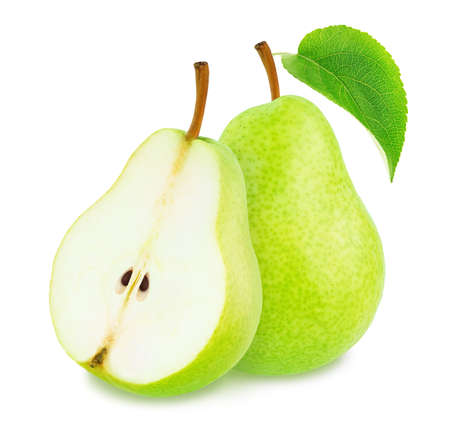 Composition with whole and cutted green pears isolated on a white background