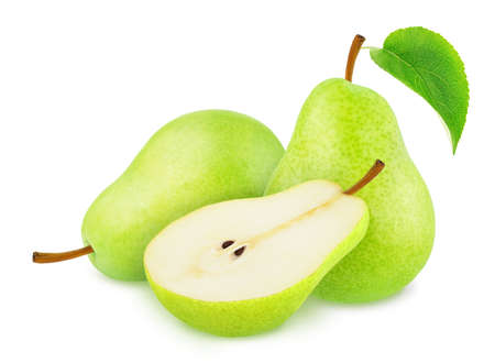 Composition with Green Pears Isolated on White Background in Full Depth of Field