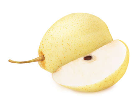 Composition with whole and cutted asian pears isolated on a white background