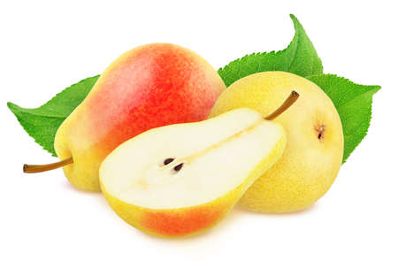Composition with Red Pears Isolated on White Background in Full Depth of Field