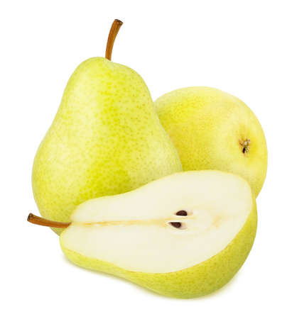 Composition with whole and cutted yellow pears isolated on a white background 版權商用圖片