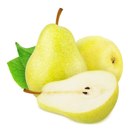 Composition with Yellow Pears Isolated on White Background