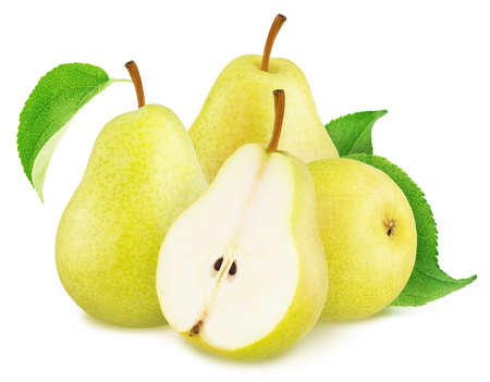 Composition with whole and cutted yellow pears isolated on a white background Stockfoto