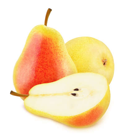 Composition with whole and cutted red pears isolated on a white background Stock fotó