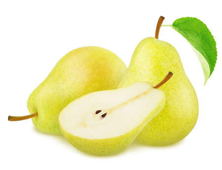 Composition with Yellow Pears Isolated on White Background in Full Depth of Field
