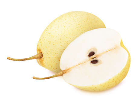 Composition with Asian Pears Isolated on White Background in Full Depth of Field