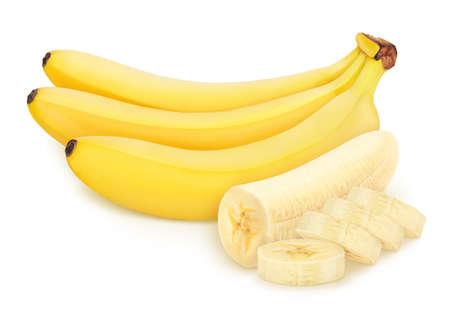 Komposition mit Bananen auf weißem Hintergrund.