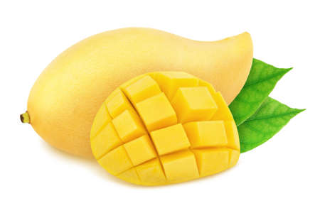 Composition with whole and curved thai mangoes with leaves isolated on white background.