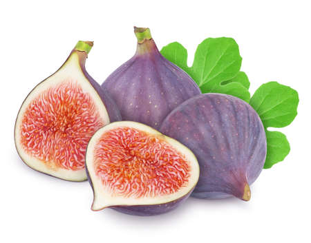 Group of ripe sweet figs with leaves isolated on white background.