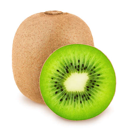 Composition with whole and halved kiwi fruits isolated on white background. As design element.