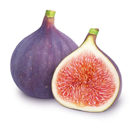 Composition with juicy figs isolated on white background.