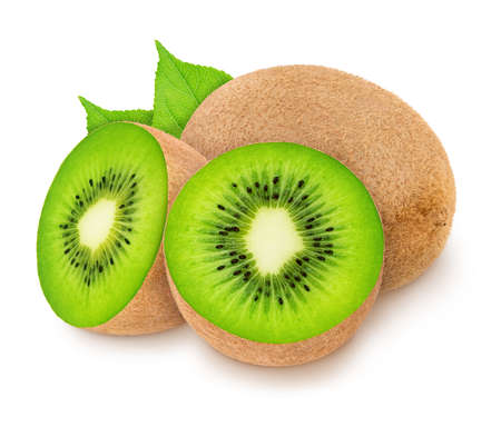 Group of ripe kiwis with leaves isolated on white background. Full depth of field. Reklamní fotografie