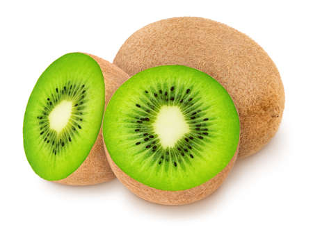 Composition with juicy kiwis isolated on white background.