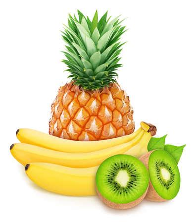 Zusammensetzung mit Tropoc-Früchten: Banane, Kiwi und Ananas auf weißem Hintergrund. Standard-Bild