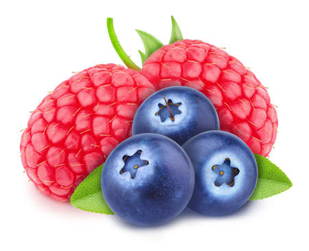Colourful composition with assortment of berries - raspberry and blueberry Stockfoto