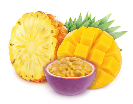 Multicolored composition with assortment of cutted fruits - pineapple, mango and passion fruit