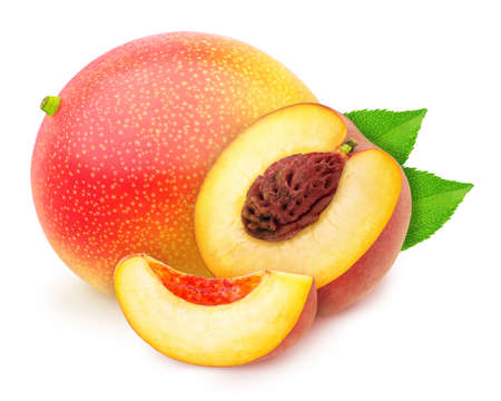 Heap of sweet juicy fruits - peach and mango