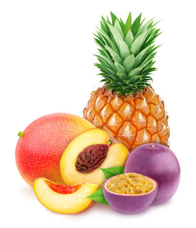 Multi-colored exotic composition with fruit mix of pineapple, passion fruit, peach and mango Stock Photo