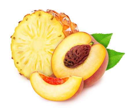 Colourful composition with sweet fruit mix - pineapple and peach