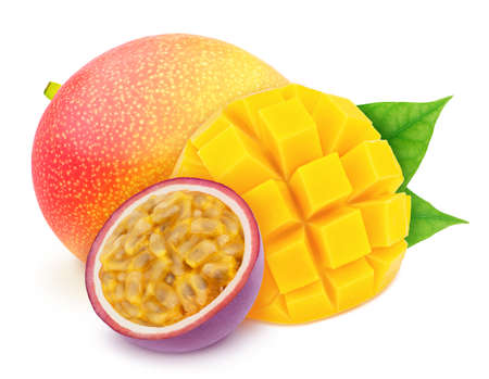 Multi-colored exotic composition with fruit mix of passion fruit and mango, isolated