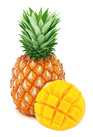 Composite image with exotic fruits - pineapple and carved mango isolated on white background. Stock Photo