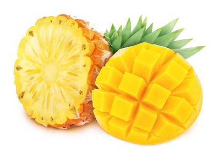 Bright yellow composition with cutted tropical fruits - mango and pineapple