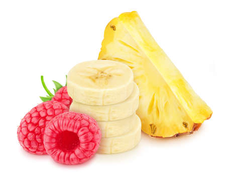 Multicolored composition with pineapple, banana and raspberry, isolated on a white background Stock Photo