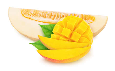 Composite image of piece of melon and curved mango, isolated on a white background. As package design element.