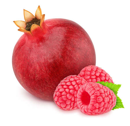 Composition with whole pomegranate and raspberry with leaves isolated on a white background. Antioxidant concept.