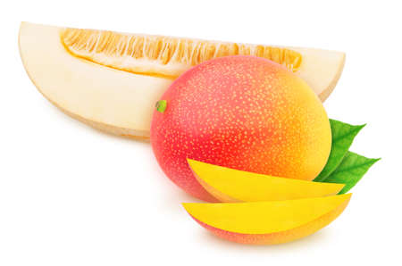 Composite image of piece of melon and mango, isolated on a white background. As package design element.