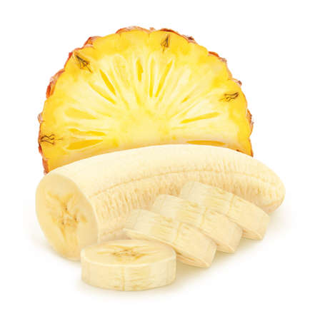 Composite image with slices of fruits: banana and pineapple isolated on white background. As package design element. Healthy eating concept.