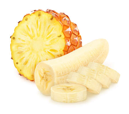 Composite image with cutted fruits: banana and pineapple isolated on white background. As package design element. Healthy eating concept.