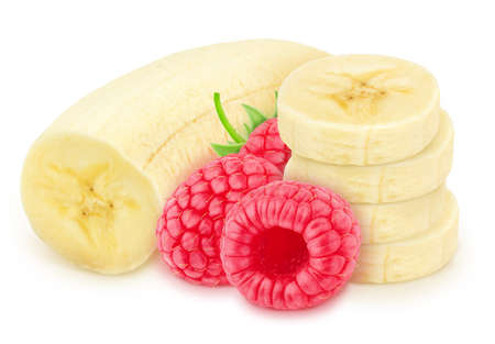 Composition with halved banana and raspberry isolated on white background. As package design element.